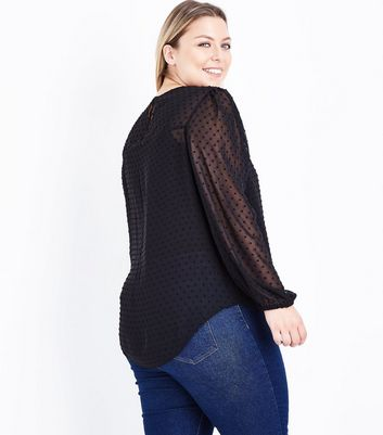 Curves Black Spot Mesh Floral Embroidered Blouse New Look