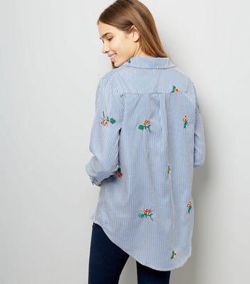 Cameo Rose Navy Stripe Floral Embroidered Shirt New Look