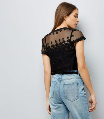 Black Floral Lace Mesh Cropped Cover Up New Look