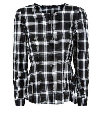 Black Check Pleat Waist Shirt New Look