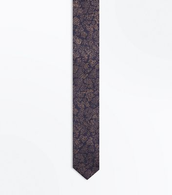 Navy and Mustard Print Tie New Look