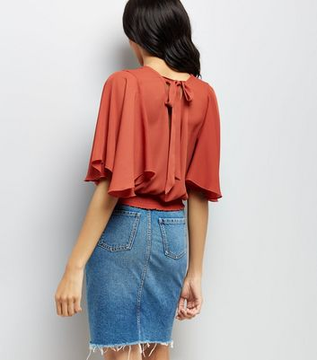 Brown Shirred Hem Flutter Sleeve Top New Look