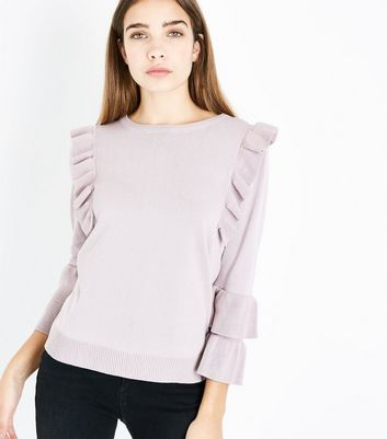 Pink Vanilla Pink Frill Trim Jumper New Look