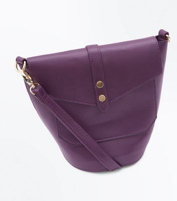 Dark Purple Foldover Bucket Bag New Look