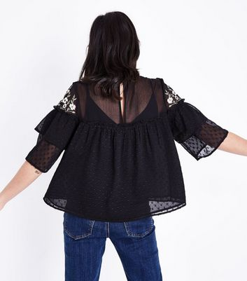Black Floral Embroidered Spot Mesh Top New Look