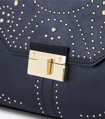 Black Stud Embellished Satchel New Look