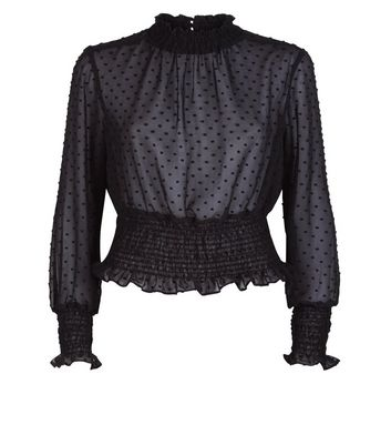 Black Shirred Hem Mesh Blouse New Look
