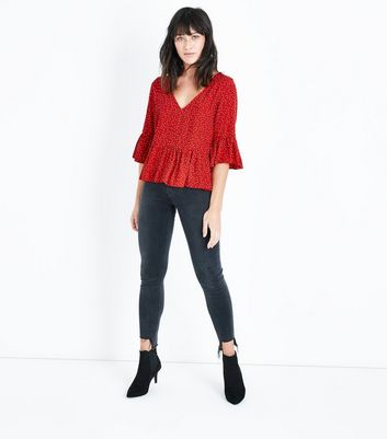 Red Spot Print Peplum Hem Top New Look