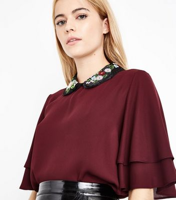 Burgundy Embroidered Collar Flutter Sleeve Top New Look