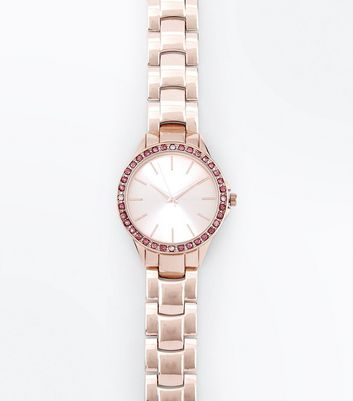Pink Stone Embellished Sports Watch New Look