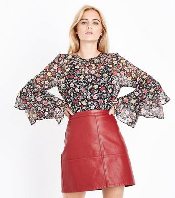 Black Floral Tiered Sleeve Top New Look