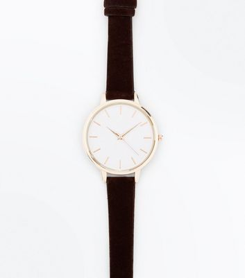 Dark Brown Velvet Strap Watch New Look