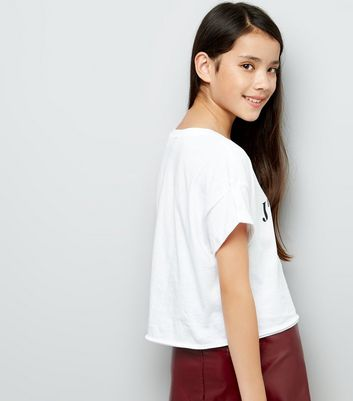 Teens White JAdore Slogan Crop Top New Look