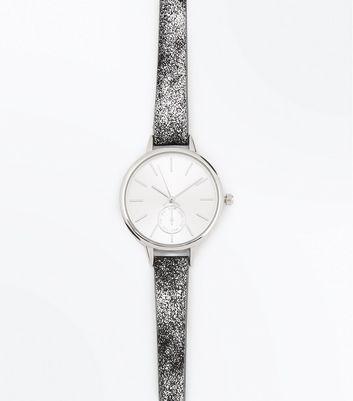 Silver Mottled Strap Watch New Look