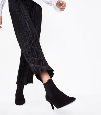 Tall Black Plisse Cropped Trousers New Look