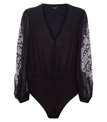 Black Premium Embroidered Sleeve Spot Mesh Bodysuit New Look