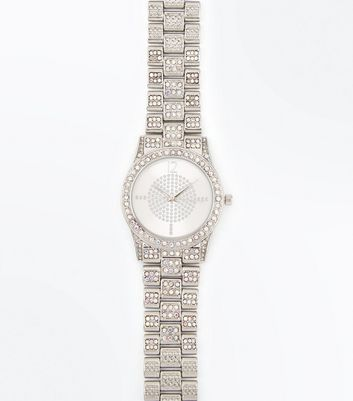 Silver Diamante Metallic Sports Watch New Look