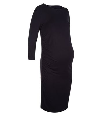 Maternity Black 3/4 Sleeve Midi Dress New Look