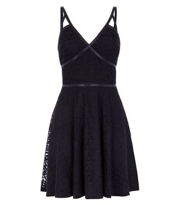 Black Lace Strappy Skater Dress New Look