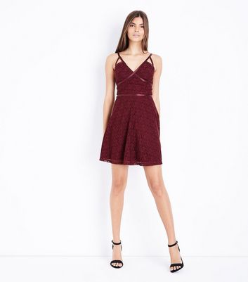 Burgundy Lace Strappy Skater Dress New Look