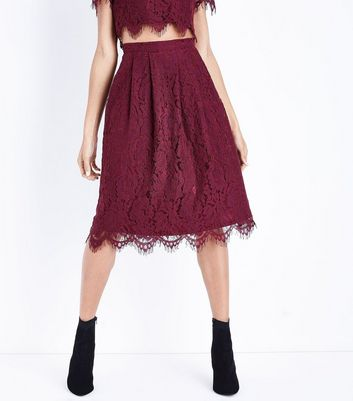 Burgundy Lace Scallop Hem Midi Skirt New Look