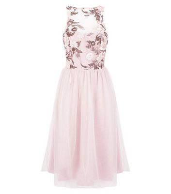 Pale Pink Floral Embroidered Mesh Midi Dress New Look