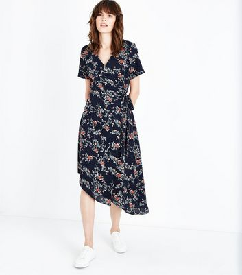 Black Floral Asymmetric Wrap Dress New Look