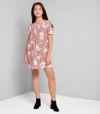 Teens Red Stripe Floral Print Shirred Bardot Neck Dress New Look