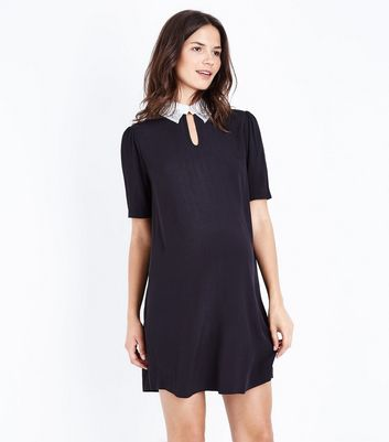 Maternity Black Embellished Collar Tunic Dress New Look