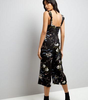 Black Floral Frill Neck Culotte Jumpsuit New Look