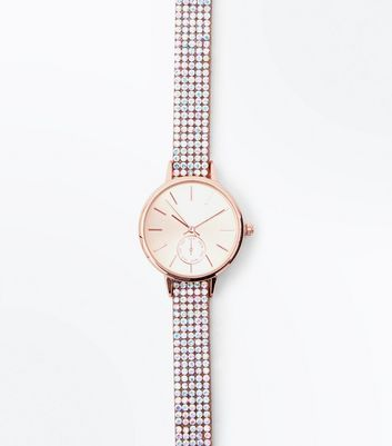 Pink Iridescent Diamantè Strap Watch