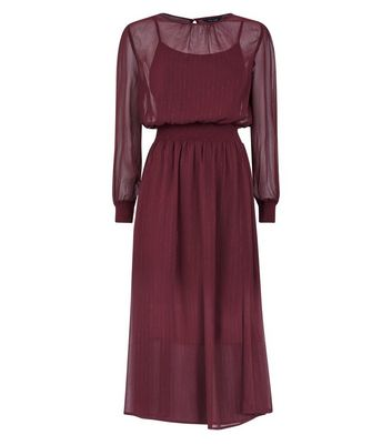 Burgundy Metallic Stripe Chiffon Midi Dress New Look
