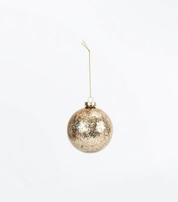 Rose Gold Sequin Christmas Bauble New Look