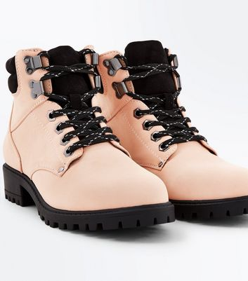 Teens Nude Contrast Lace Up Worker Boots New Look