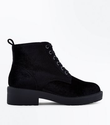 Teens Black Velvet Lace Up Boots New Look