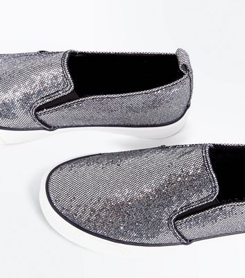 Teens Pewter Glitter Slip On Trainers New Look