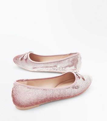 Teens Rose Gold Sequin Ballet Pumps New Look