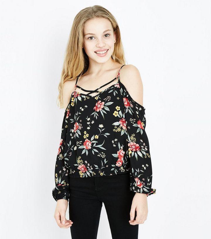 3e4c6a3924623 Teens Black Floral Print Cold Shoulder Top