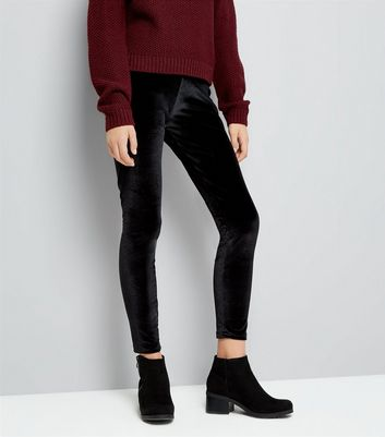 Teens Black Velvet Leggings New Look