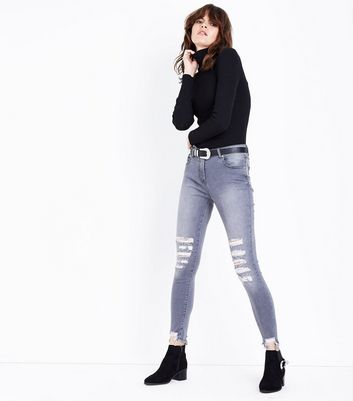 Parisian Grey Ripped Skinny Jeans New Look