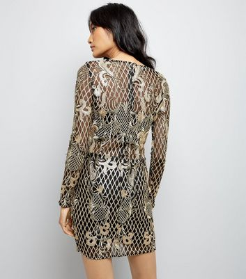 Parisian Gold Sequin Embellished Bodycon Dress New Look