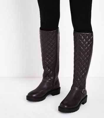 Wide Fit Black Quilted Chunky Knee High Boots New Look