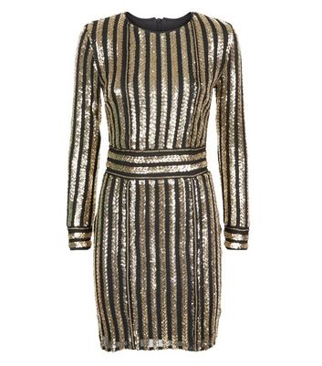 Parisian Gold Sequin Stripe Long Sleeve Dress New Look