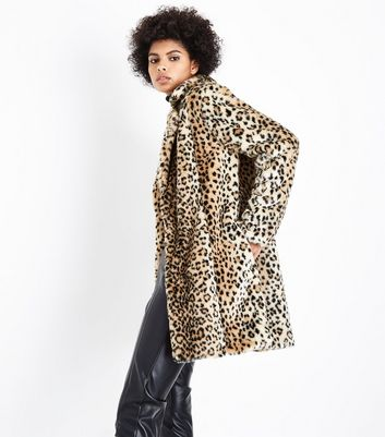 Parisian Stone Leopard Print Faux Fur Coat New Look