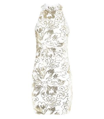 Parisian White Flower Sequin Mesh Dress New Look