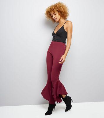 Burgundy Frill Hem Trousers New Look