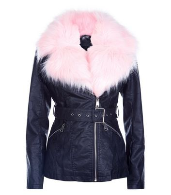 Parisian Black Contrast Faux Fur Lined Biker Jacket New Look