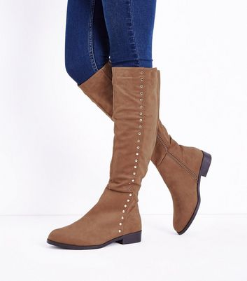 Wide Fit Tan Suedette Stud Trim Knee High Boots New Look