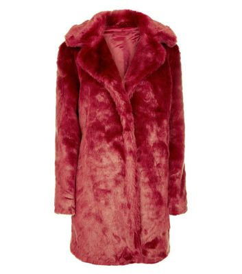 Parisian Red Faux Fur Jacket New Look