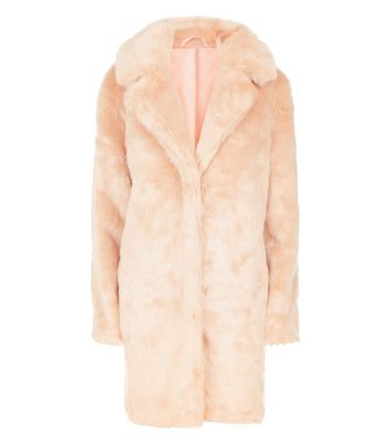 Parisian Pink Faux Fur Coat New Look